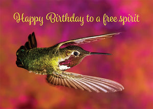 Free Spirit Hummingbird Birthday Card
