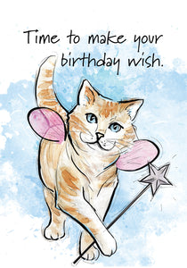 Time to make your birthday wish! Cat Birthday Card