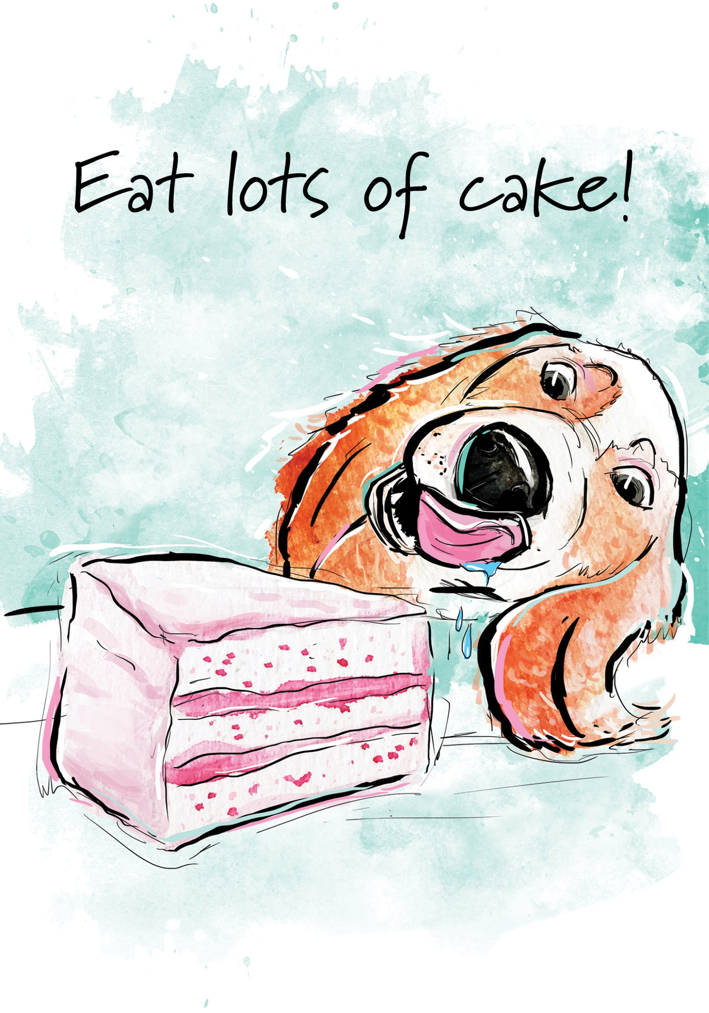Eat Lots of Cake! Dog Birthday Card