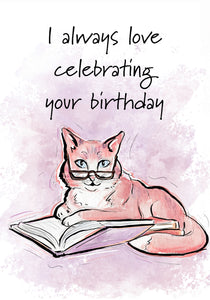 I Love Celebrating! Cat Birthday Card