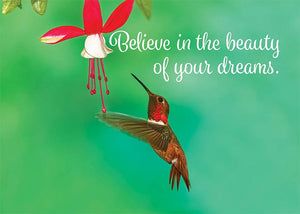 Believe in Your Dreams Hummingbird Congratulations Card