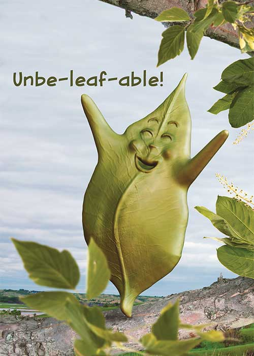 Unbe-leaf-able! Leaf Congratulations Card