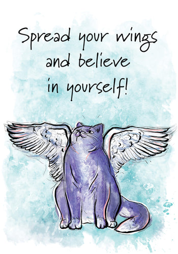 Spread your Wings! Cat Friendship Card