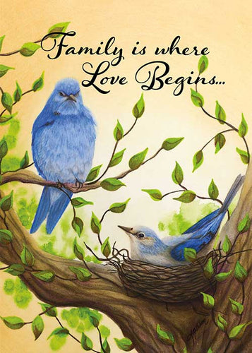 Family is Where Love Begins Bird New Born Card