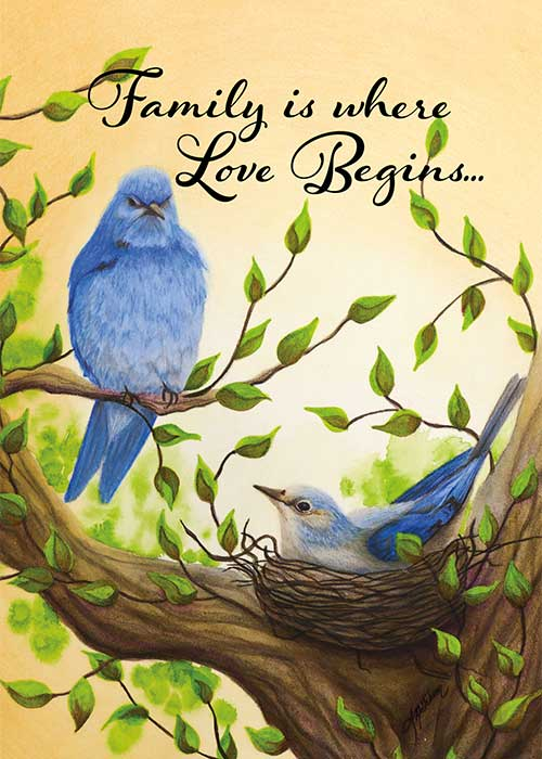 Family is Where Love Begins Bird Newborn Card