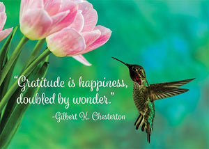 Gratitude is Happiness Hummingbird Thank You Card