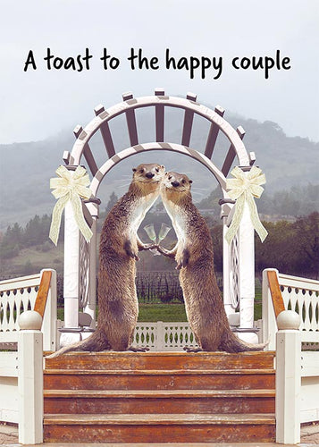 Happy Couple Funny Otter Wedding Card