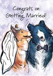 Congrats on Getting Married! Dog Congratulations Card