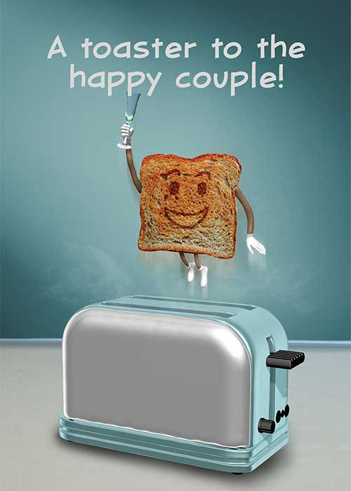 A Toaster to the Happy Couple Wedding Card