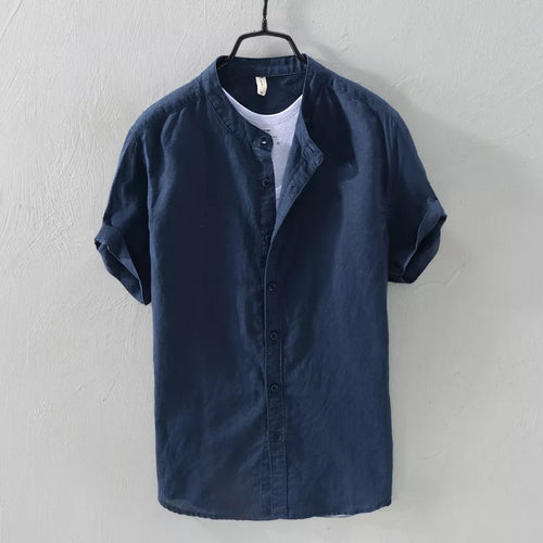 Navy Blue Mandarin Collar Linen Shirt--Short Sleeve