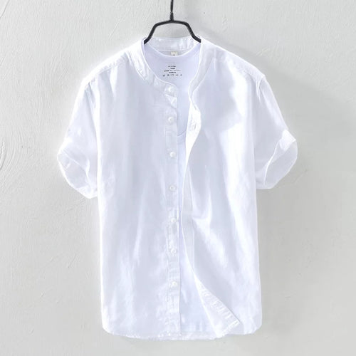 White Mandarin Collar Linen Shirt--Short Sleeve