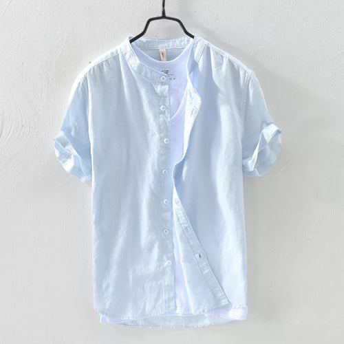 Sky Blue Mandarin Collar Linen Shirt--Short Sleeve