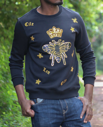 Crown Embroidered Sweatshirt-Black