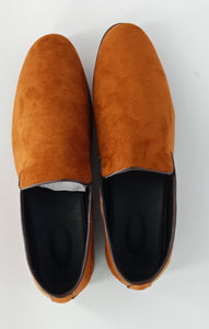 Brown Slip-on Velvet shoes