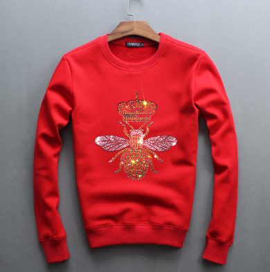 Bee Embroidered Sweatshirt-Red