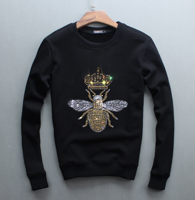 Bee Embroidered Sweatshirt-Black