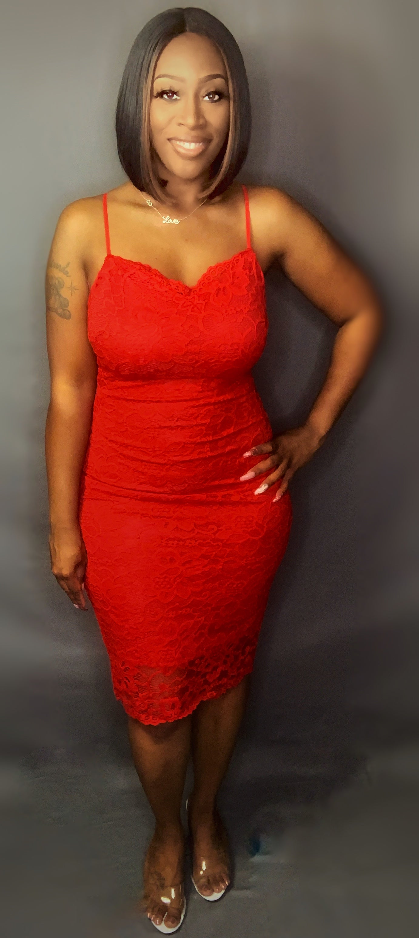 Laced Up Bodycon Red