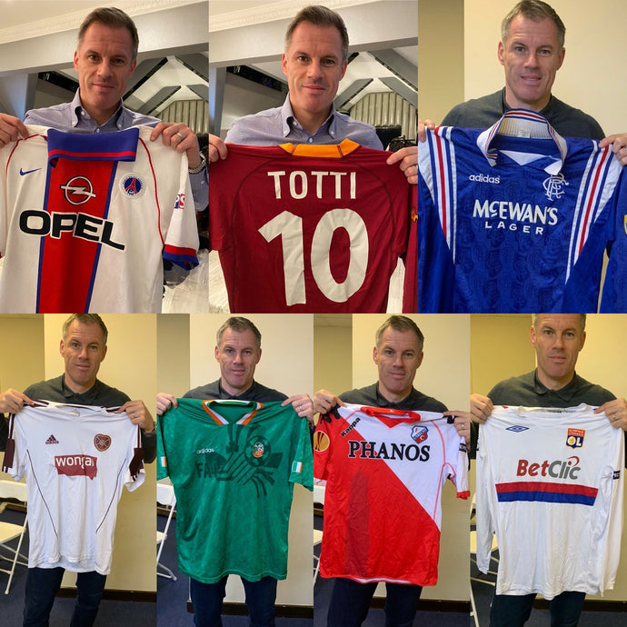 Jamie Carragher donates match worn football shirt collection to charity Kit it Out!