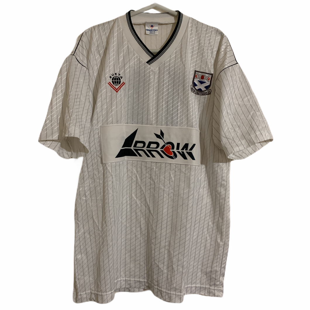 1988 1990 AYR UNITED PLAYER ISSUE HOME FOOTBALL SHIRT #7 - L