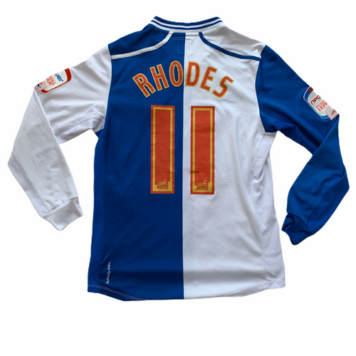 2012 13 BLACKBURN ROVERS L/S HOME FOOTBALL SHIRT #11 RHODES - S