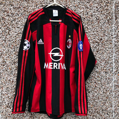 2003 2004 AC Milan home Long Sleeves football shirt LS - S