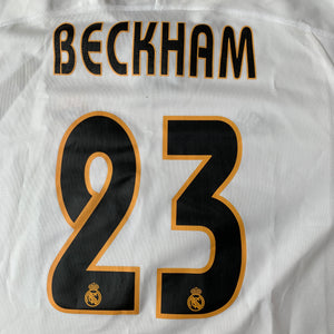 2003 04 REAL MADRID HOME FOOTBALL SHIRT #23 BECKHAM - L