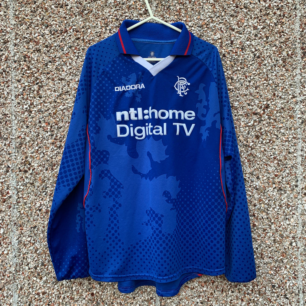 2002 2003 Rangers L/S home Football Shirt - M