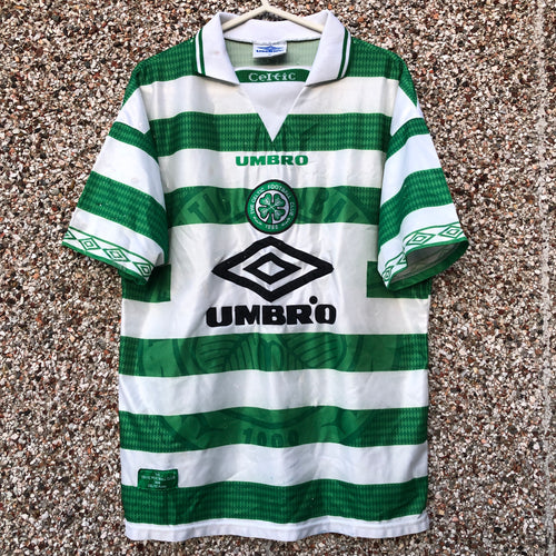 1997 1999 CELTIC HOME FOOTBALL SHIRT (Poor/fair) - M
