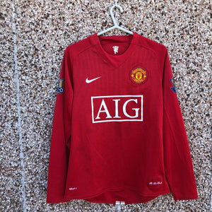 2007 2009 Manchester United LS Home  Football SHirt TEVEZ #32 - S