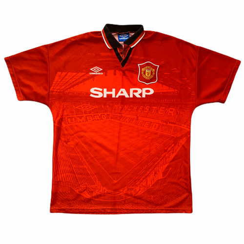 1994 95 MANCHESTER UNITED HOME FOOTBALL SHIRT - L