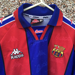 1995 1997 Barcelona Long Sleeved LS home Football Shirt - S / M
