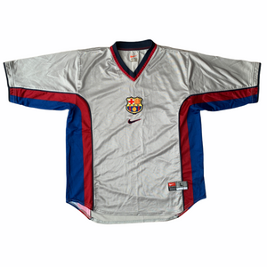 1999 00 BARCELONA AWAY FOOTBALL SHIRT - L
