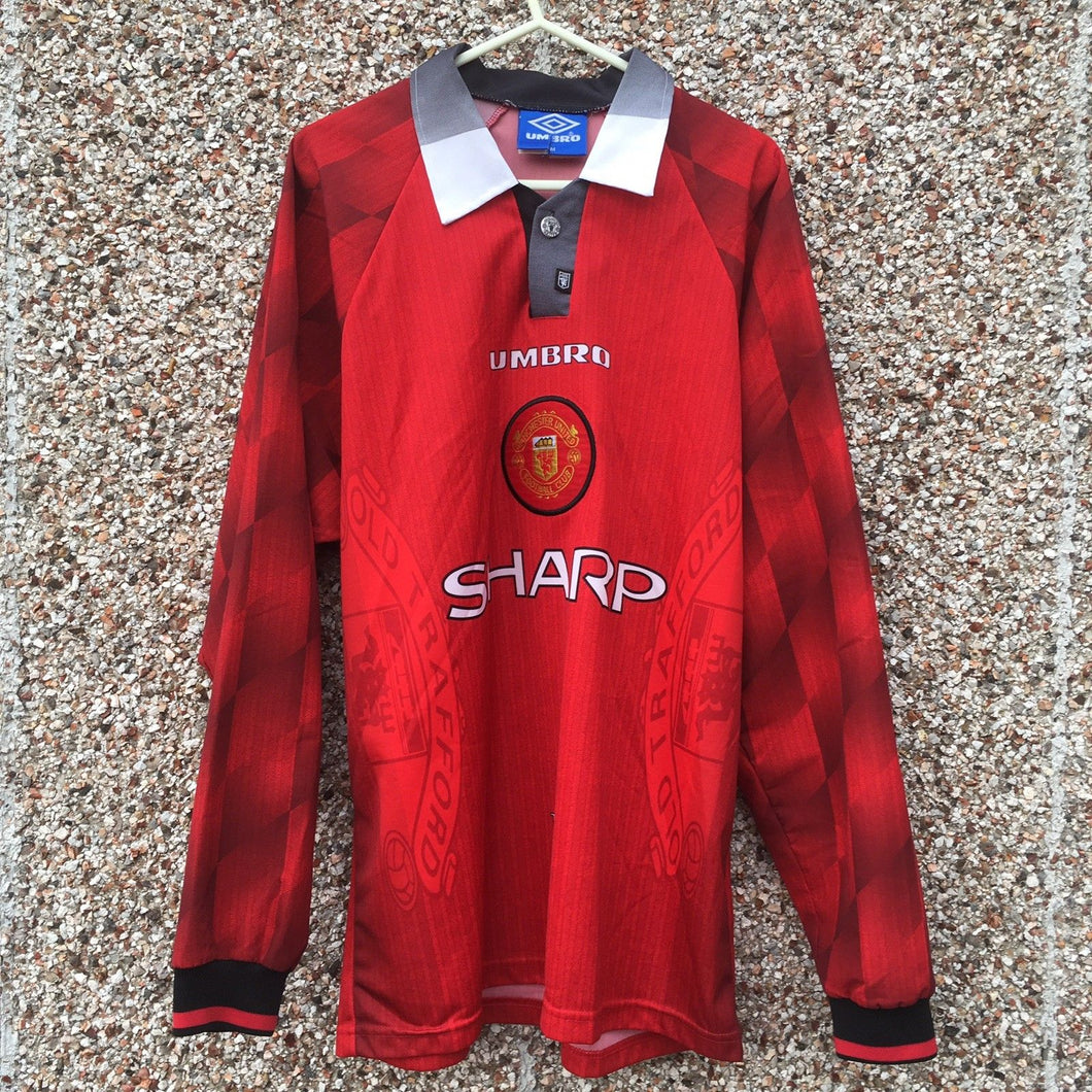 1996 1998 Manchester United Long Sleeved home Football Shirt - M