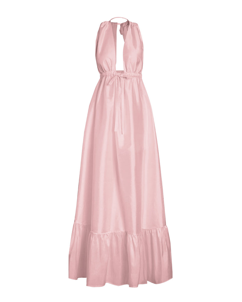 Aphaea Silk Taffeta Maxi Dress - Rose Quartz