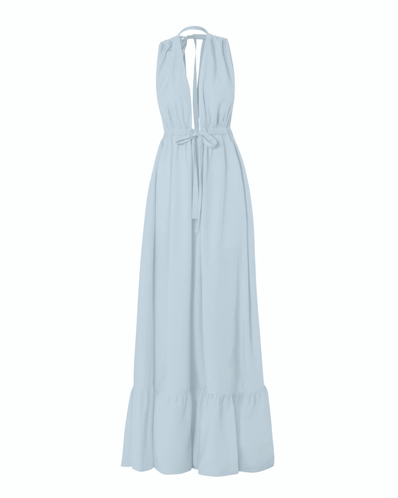 Aurora Poplin Halter Maxi Dress - Cloud