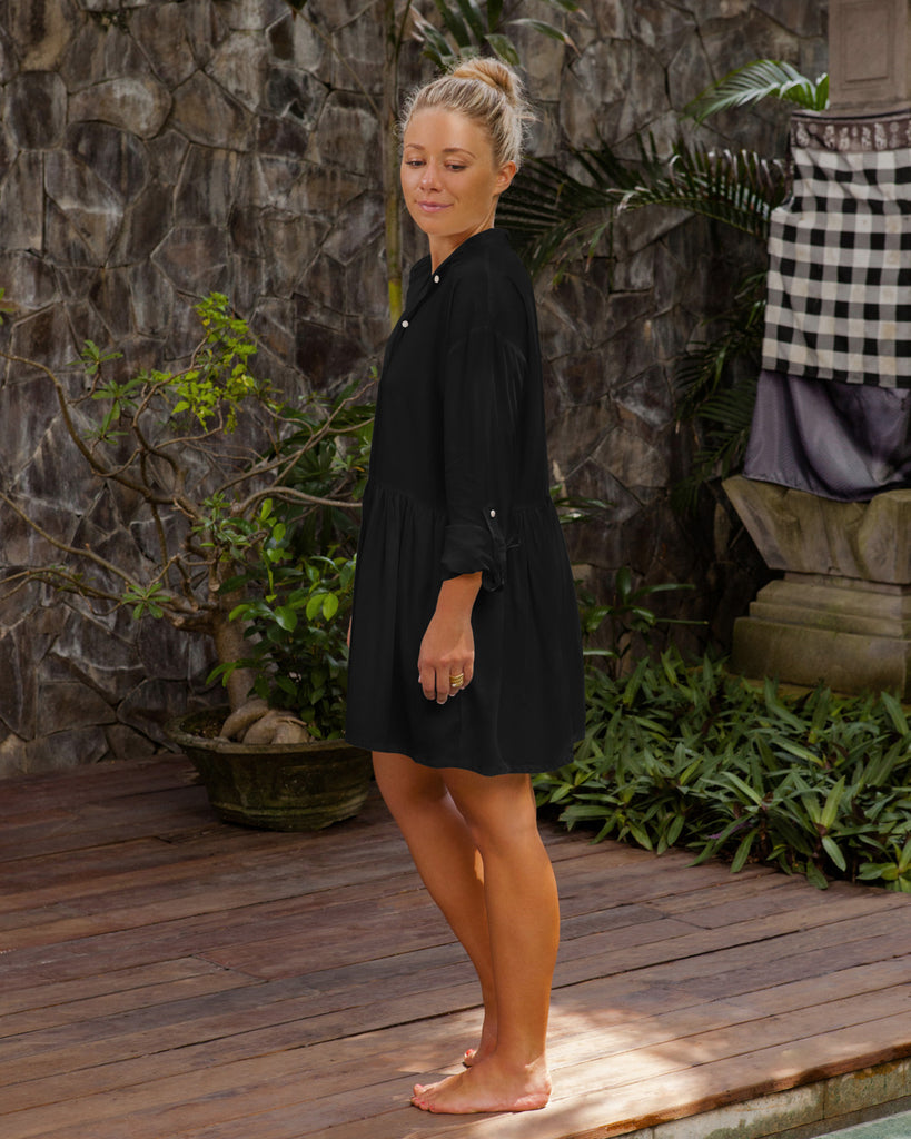 Calliope Shirt Dress - Black