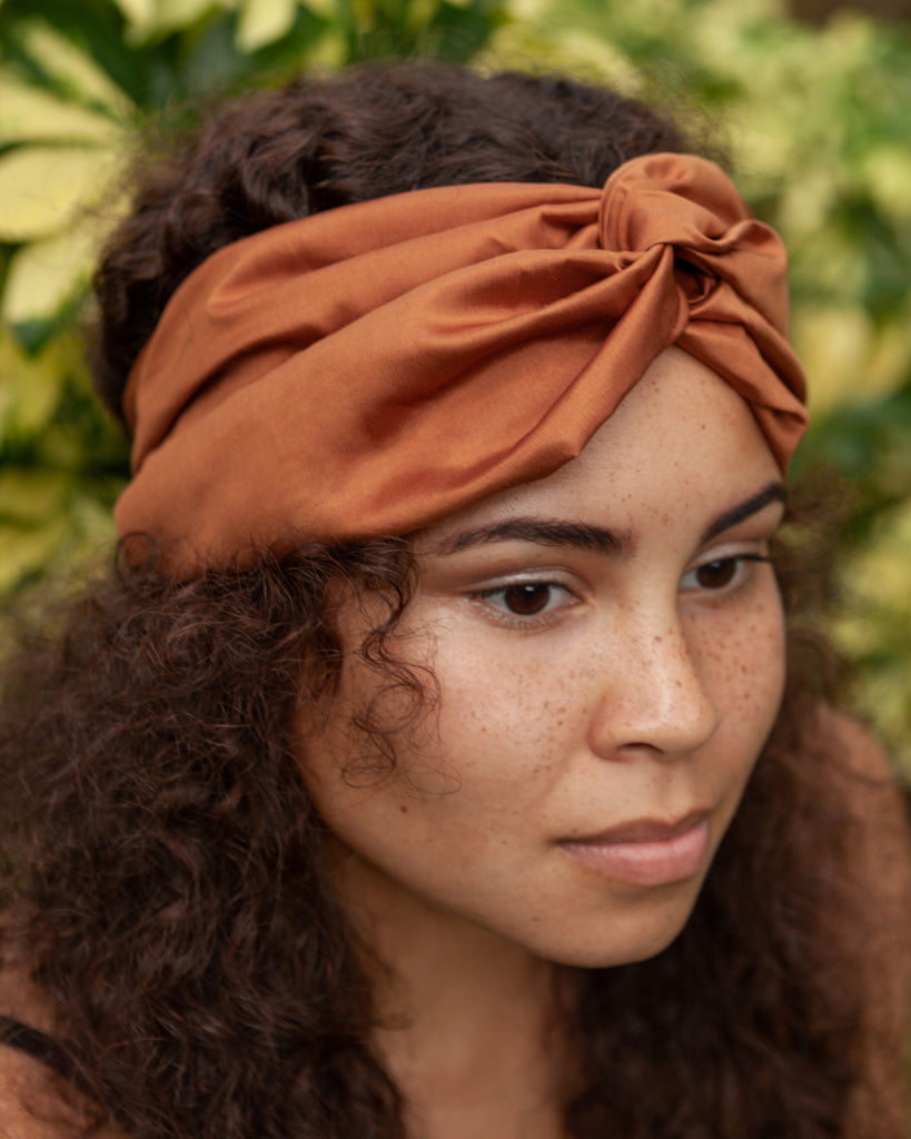 Phaena Silk Taffeta Turban Headband - Terracotta