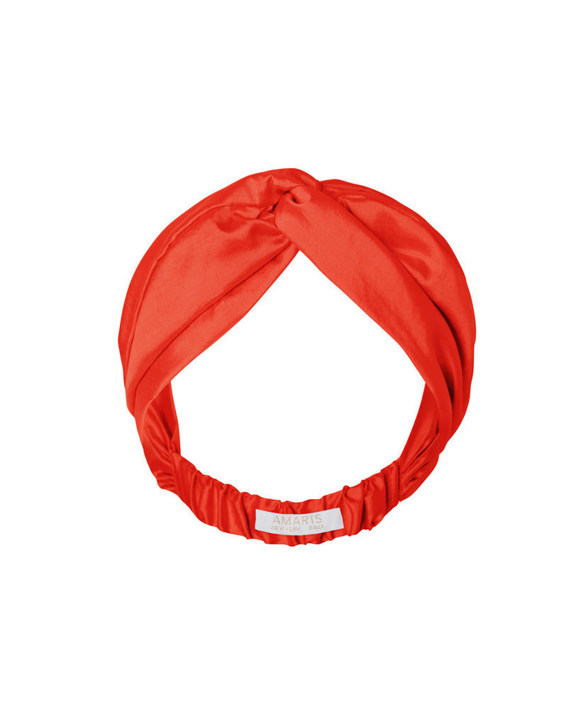 Phaena Silk Taffeta Turban Headband - Fire
