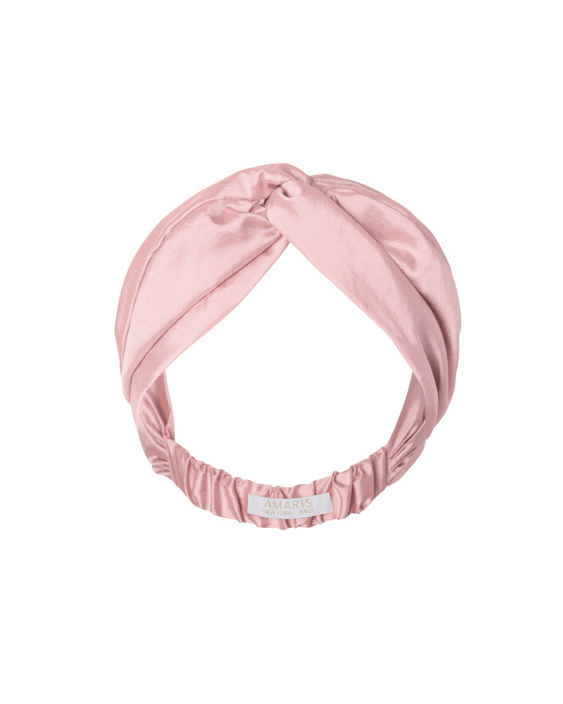 Phaena Silk Taffeta Turban Headband -  Rose