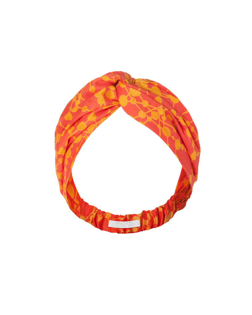 Phaena Silk Print Turban Headband - Citrus Pop