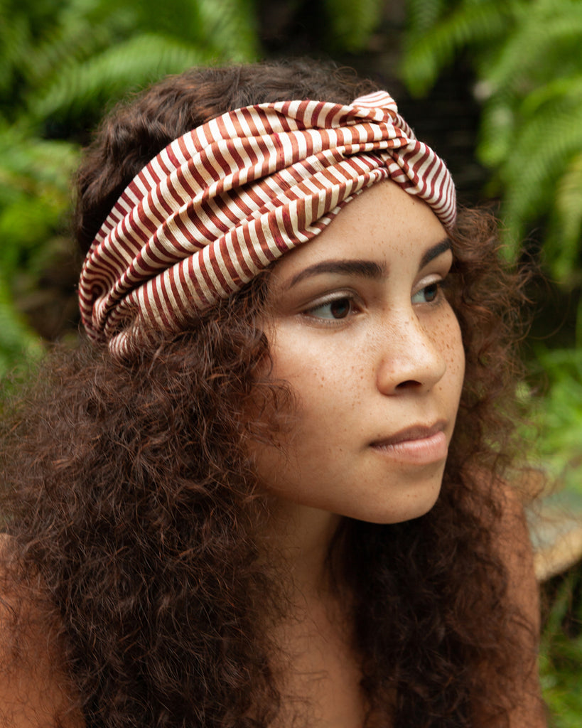 Phaena Silk Print Turban Headband - Chocolate Stripe