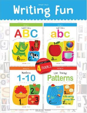 Writing Practice A Set of 4 Books (Writing Fun Pack): Write and Practice Capital Letters, Small Letters, Patterns and Numbers 1 to 10 by Wonder House Books