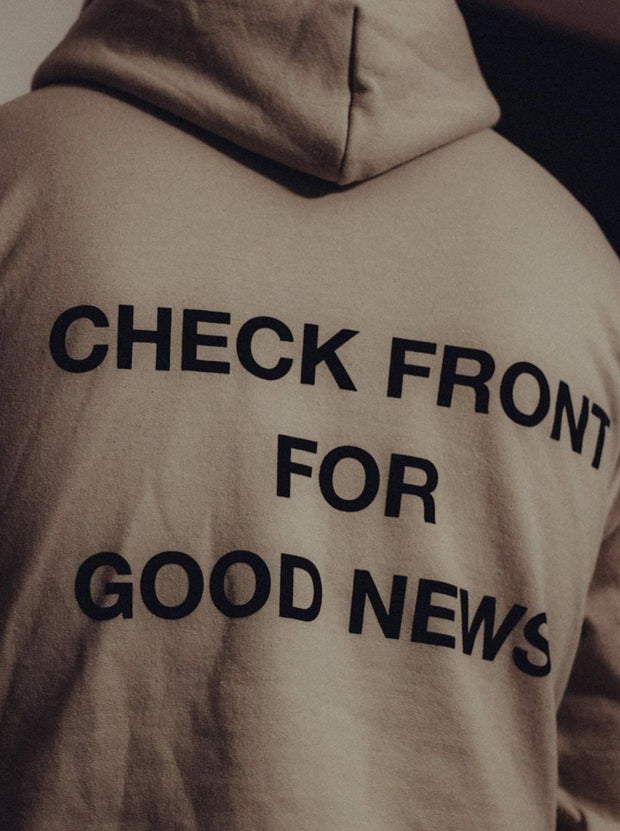 """Check Front"" Sand Premium Hoodie"