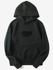 'Jesus Loves You' Matte Black on Black Logo Hoodie