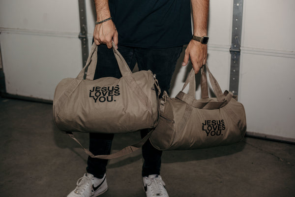 """Jesus Loves You"" Premium Duffle Bag"