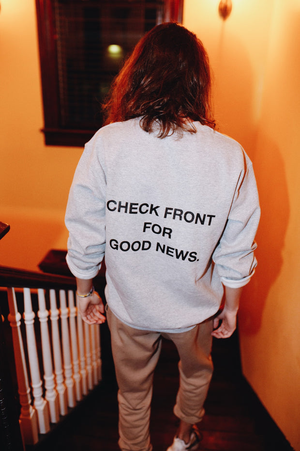 """Check Front"" Gray Crewneck Sweatshirt"