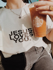 'Jesus Loves You' Sand Logo Tee