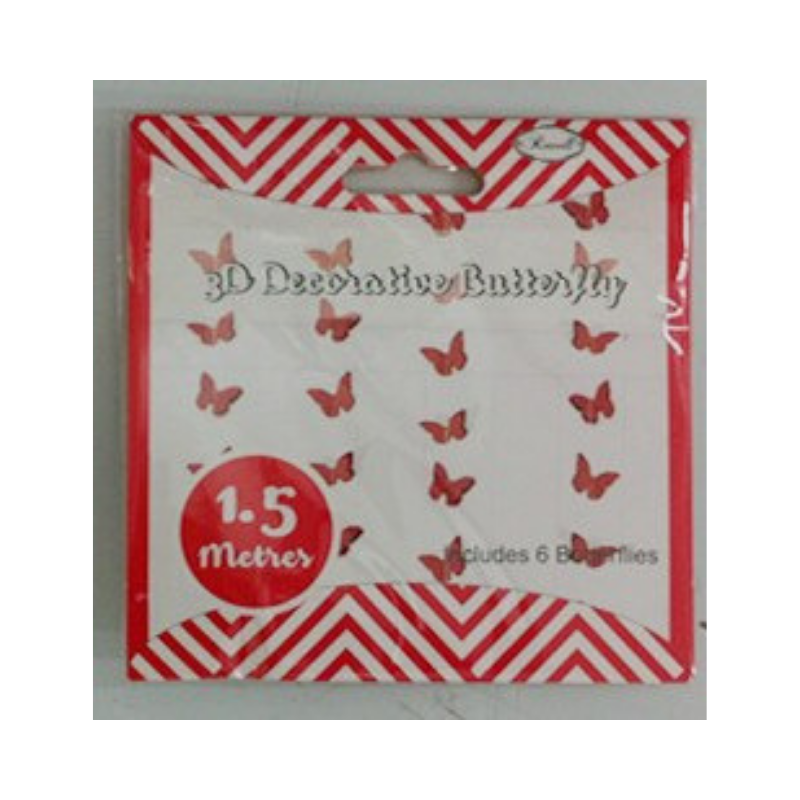 Butterfly Garland Red 3D 1.5m