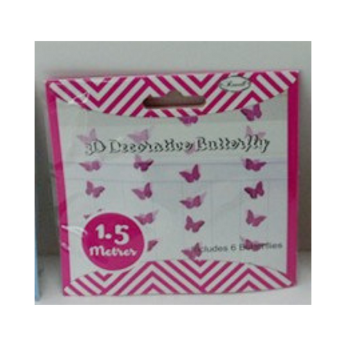 Butterfly Garland Hot Pink 3D 1.5m