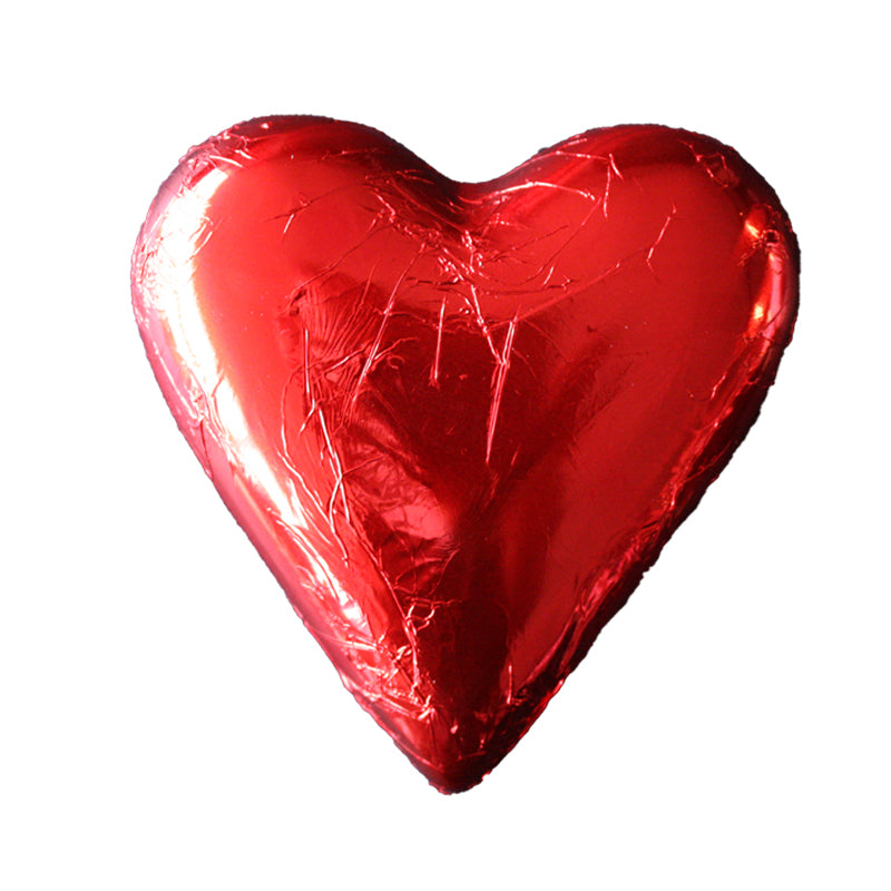 Red Foiled Milk Chocolate Hollow Heart 100g